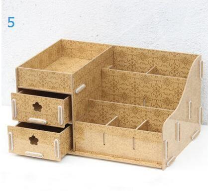 藍格子 大號創意抽屜式木質桌面化妝品收納盒 梳妝台收納架置物架