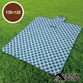 【PolarStar】多功能防潮睡墊/野餐墊/休閒墊/遊戲墊 - 防水PE鋁膜.可機洗 P17708 『粉藍菱格』135X120cm