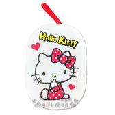 〔小禮堂〕Hello Kitty 身體沐浴澡棉《白.側坐.點點蝴蝶結.愛心》晶瑩美肌 5712977-46952