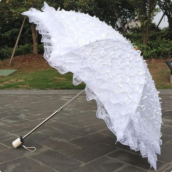 韓版黑膠二折蕾絲蝴蝶結白色防紫外線防曬遮陽太陽傘晴雨傘公主傘