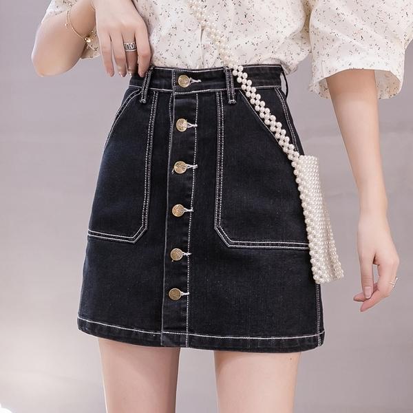 VK精品服飾 韓系氣質牛仔半身裙包臀單排釦時尚單品短裙