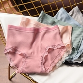 女士蕾絲內褲女士中腰純棉螺紋彈力內褲 全棉底襠 蕾絲邊三角褲 有大碼 夏季新品