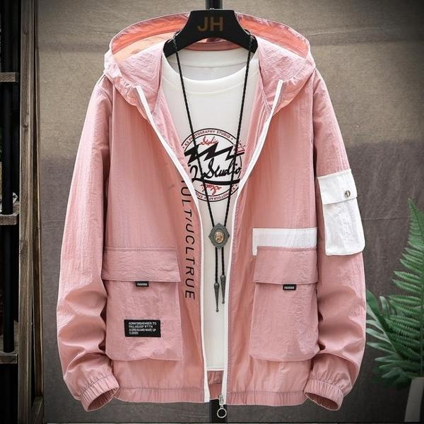 簡約男士外套 潮流外套潮牌上衣 男外套時尚韓版外套 秋季休閑薄款冰絲夾克外套 日系男生外套