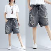 夏季新款文藝大尺碼女褲鬆緊腰系帶灰破洞牛仔褲子寬鬆做舊五分褲潮