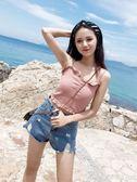 夏季百搭吊帶背心女外穿短款性感木耳邊針織打底上衣艾美時尚衣櫥