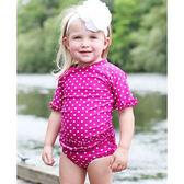 RuffleButts 短袖泳衣套裝 泳裝+泳褲二件組桃紅點點 兒童【RURGSFP】