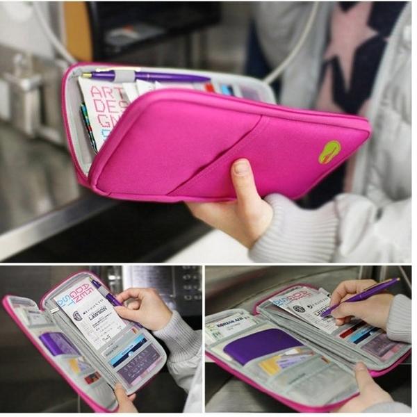 韓版多功能旅行護照包 飛機證件包 收納包