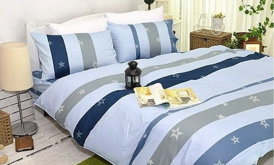 夏日星晨(藍)、100% 精梳棉 【單人床包3.5X6.2尺/枕套/涼被】3件組 台灣製