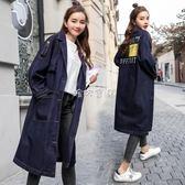 孕婦風衣外套 大碼孕婦裝秋裝外套2018新款韓國時尚牛仔風衣200斤長款開衫上衣 珍妮寶貝