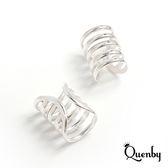 Quenby 925純銀 男女通用款個性鏤空半圓耳骨夾/耳扣