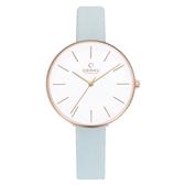 OBAKU 日系典雅皮革女腕錶-藍-V211LXVIRL