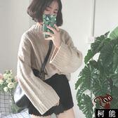 毛衣【8306】韓系寬鬆半高領素面麻花套頭慵懶粗線針織衫毛衣