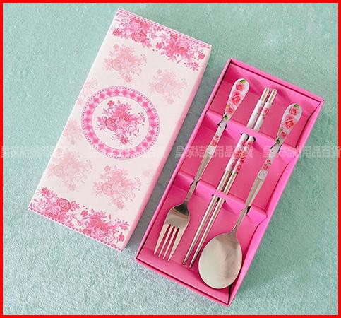 玫瑰三件餐盒組 餐具 送客禮 婚禮小物【皇家結婚用品】