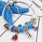 女手鍊 夏季DIY精美藍色航海日記主題手飾 飾品《印象精品》yq126