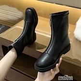 英倫風秋款馬丁短靴女年秋冬季高跟鞋粗跟女鞋春秋單靴子快速出貨