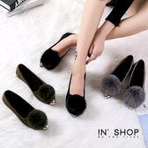 IN' SHOP尖頭鞋-韓款甜美金屬鞋尖絨球娃娃鞋-共3色【KF00788】
