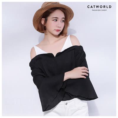 Catworld 正韓空運*細肩露肩喇叭袖雪紡上衣【11406034】‧F
