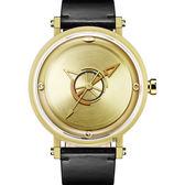 odm BEYOND 復刻日晷簡約時尚手錶-金x黑/42mm DD168-03