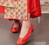 中式平底龍鳳綢緞紅色新娘鞋子旗袍裙褂秀禾結婚鞋伴娘禮服布鞋女·Ifashion