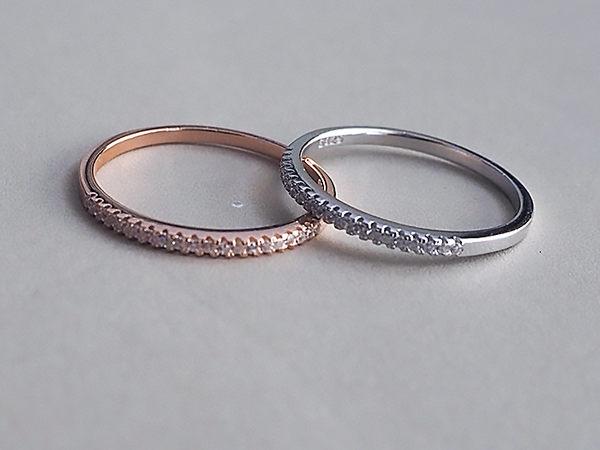 925純銀排鑽戒指 日韓簡約 玫瑰金色 新增大尺碼