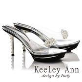 ★零碼出清★Keeley Ann耀眼奪目~仙杜瑞拉小花朵透亮鑲鑽高跟拖鞋(銀色)-Ann系列