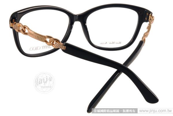 JIMMY CHOO 光學眼鏡 JC93 QFE (黑-金) 奢華時尚典雅女款 # 金橘眼鏡