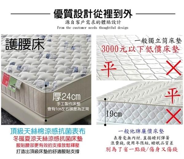 床墊 獨立筒 飯店用護腰床-涼感天絲棉抗菌蜂巢獨立筒床墊-雙人5尺(厚24cm)破盤價-$8500限量