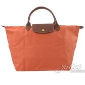 茱麗葉精品【全新現貨】 Longchamp Le Pliage 折疊短揹帶肩提包.橘 M #1623