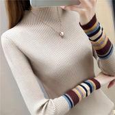 2018新款半高領毛衣女打底衫長袖秋冬內搭黑色套頭加厚修身針織衫