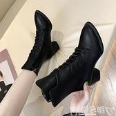 粗跟短靴 粗跟短靴女高跟2021秋冬季新款中跟時尚尖頭系帶復古馬丁靴女裸靴 嬡孕哺 新品