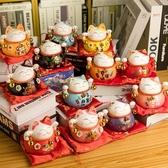 招財貓擺件小號創意家居辦公室辦公桌陶瓷裝飾迷你擺件生日禮物 夏季上新