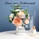 歐式仿真花擺件油畫玫瑰花餐桌茶幾花藝擺件假花裝飾桌面擺設花束【時尚大衣櫥】