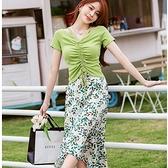 草綠色美胸抓皺飄逸開岔裙兩件套(綠上衣+印花及膝裙)約會洋裝[99195-QF]小三衣藏