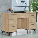 【水晶晶家具/傢俱首選】CX1443-2 芮緹黃橡木120公分七抽書桌