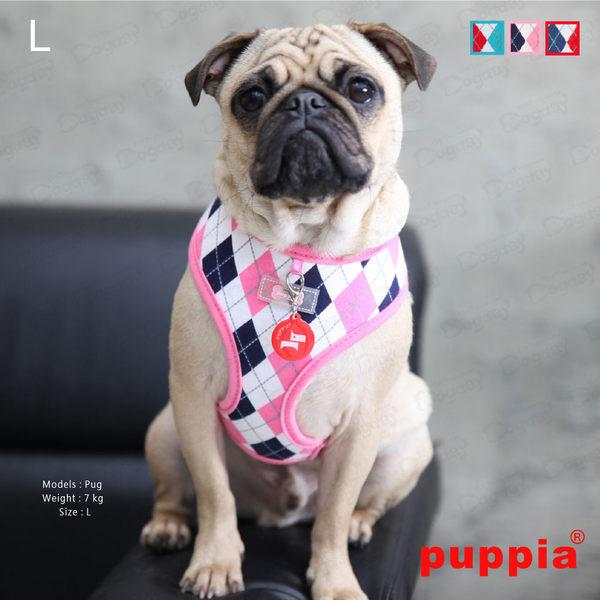 《Puppia》歡顏菱格胸背A組附《同款設計牽繩》完美搭配高價值 S/M號 紅/粉紅/青綠 胸背帶項圈