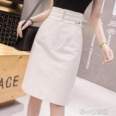 牛仔裙中式半身裙子女春夏中長款包臀裙高腰開叉一步裙 洛小仙女鞋