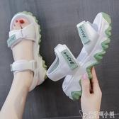 運動涼鞋女年夏季新款仙女風百搭學生網紅舒適厚底鬆糕羅馬鞋 安妮塔小鋪