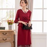 美之札[88155-S]氣質純色腰荷葉邊綁結遮肚兩件套名媛洋裝