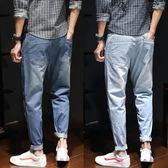 薄款9分男士寬鬆哈倫牛仔褲