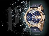 【時間道】POLICE 雙時區大錶徑三眼腕錶/藍面金框藍皮(15049JSR-03)免運費