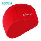 LANE4羚活POLYESTER舒適彈性泳帽 - 紅印白