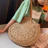 草編包法國小眾包包女百搭大容量女士側背包夏天個性草編手提包伊蘿鞋包