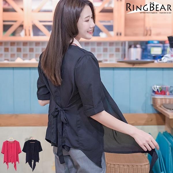 質感外套--簡約輕盈飄逸不規則下擺袖間立體造型雪紡外套(黑.紅XL-5L)-J295眼圈熊中大尺碼◎