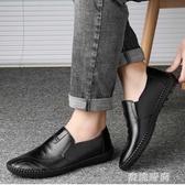 春季皮鞋男士英倫休閒鞋透氣豆豆鞋軟底黑色內增高圓頭防滑 『蜜桃時尚』