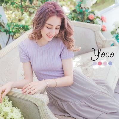 東京著衣【YOCO】恬靜女孩鏤空造型針織上衣-S.M(6012827)