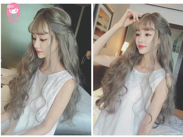 *╮Kinkee假髮╭*冷夕娃娃! 大頭皮 空氣瀏海 修飾 完美波浪 長捲髮   假髮【c8168】