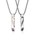 鈦鋼項鍊 情侶款時尚設計愛心拼接鈦鋼流行項鍊(一對出售價)