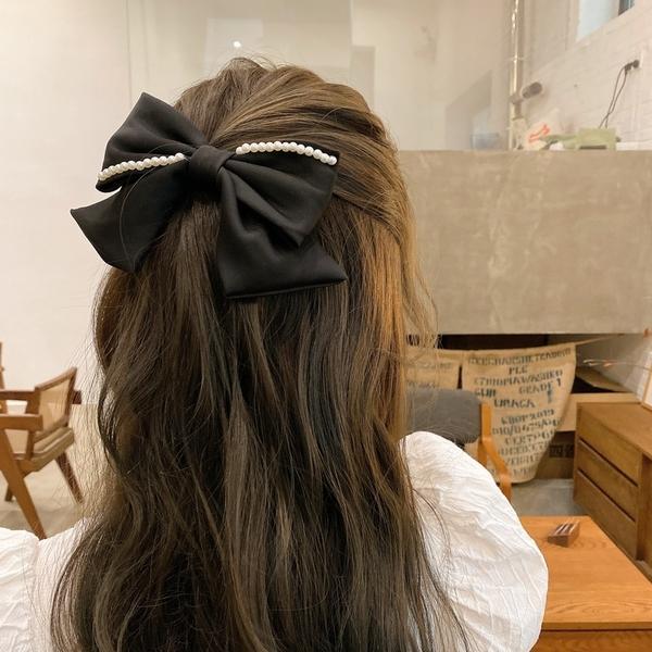 網紅髮飾珍珠蝴蝶結髮夾頭飾韓國女后腦勺彈簧夾大號頭髮夾子黑色 小天使