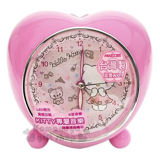 〔小禮堂〕Hello Kitty LED愛心造型音樂鬧鐘《粉.站姿.眨眼》時鐘.桌鐘.精緻盒裝 3118205-10001