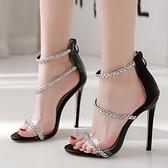 歐美新款一字水鉆細跟高跟女涼鞋 夜店舞臺表演高跟鞋